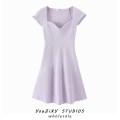 Dress Summer 2020 Light purple, white, light blue, pink, black Average size Short skirt singleton  street square neck Solid color Socket Splicing Europe and America