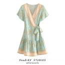 Dress Summer 2020 Decor S,M,L Short skirt singleton  Short sleeve Sweet V-neck Decor Lace up, stitching Bohemia