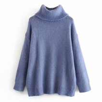 Wool knitwear Autumn of 2019 S,M,L Gray, blue, black Long sleeves singleton  other 71% (inclusive) - 80% (inclusive) Regular routine commute High collar raglan sleeve Solid color Simplicity