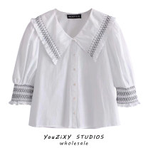 shirt white XS,S,M,L Summer 2021 other 31% (inclusive) - 50% (inclusive) Long sleeves street Short style (40cm < length ≤ 50cm) Doll Collar Single row multi button Lotus leaf sleeve Solid color Straight cylinder Lotus leaf edge Europe and America