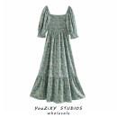 Dress Summer 2020 Decor XS,S,M,L Mid length dress singleton  Short sleeve street One word collar Decor Socket Ruffle Skirt puff sleeve Ruffles, stitching Europe and America