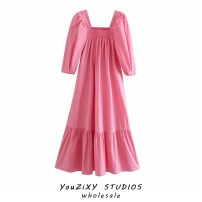 Dress Autumn 2020 Pink, purple S,M,L longuette singleton  Short sleeve street square neck Solid color Socket puff sleeve Ruffles, stitching Europe and America
