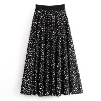 skirt Winter of 2019 XS,S,M,L black Mid length dress street High waist Solid color Type A Sequins, stitching Europe and America