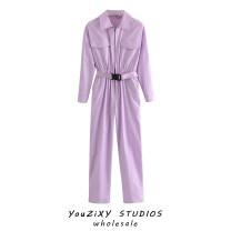 Casual pants Light purple, Khaki S,M,L Autumn 2020 trousers Wide leg pants High waist street routine Europe and America