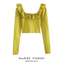 Wool knitwear Autumn 2020 S, M Mustard  Long sleeves singleton  Socket other 71% (inclusive) - 80% (inclusive) have cash less than that is registered in the accounts routine street Self cultivation square neck Solid color Socket Ruffles, stitching Europe and America