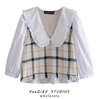 shirt Decor XS,S,M,L Summer 2021 other 71% (inclusive) - 80% (inclusive) Long sleeves street Short style (40cm < length ≤ 50cm) Doll Collar Socket routine lattice High waist type Splicing Europe and America