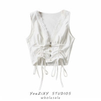 Vest sling Summer 2021 white S,M,L singleton  have cash less than that is registered in the accounts Self cultivation street Solid color 71% (inclusive) - 80% (inclusive) other