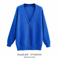 Wool knitwear Autumn 2020 Average size blue Long sleeves singleton  Cardigan other 71% (inclusive) - 80% (inclusive) Regular routine street V-neck Solid color Single breasted Splicing Europe and America