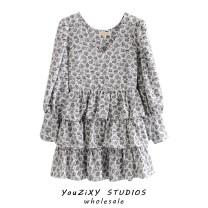 Dress Autumn 2020 Decor S,M,L Short skirt singleton  Long sleeves street V-neck Decor Socket Ruffle Skirt Splicing Europe and America