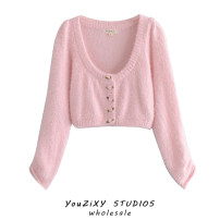 Wool knitwear Autumn 2020 S, M Pink Long sleeves singleton  Cardigan other 71% (inclusive) - 80% (inclusive) Regular routine street easy routine Solid color Single breasted Splicing Europe and America