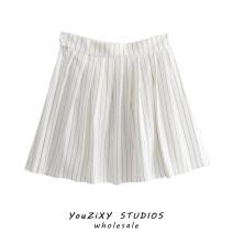 skirt Summer 2021 S,M,L Top, skirt Short skirt Retro High waist A-line skirt stripe