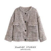 woolen coat Autumn 2020 S,M,L Decor other 71% (inclusive) - 80% (inclusive) routine Long sleeves street routine High waist type Splicing Europe and America