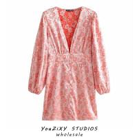 Dress Autumn 2020 Pink, green S,M,L Short skirt singleton  Long sleeves street V-neck High waist Decor Socket puff sleeve Splicing Europe and America
