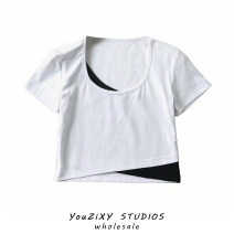 T-shirt White, dark gray, lake blue, sky blue, light blue, blue, black S,M,L Summer 2021 Short sleeve Crew neck Self cultivation have cash less than that is registered in the accounts routine street other 51% (inclusive) - 70% (inclusive) Splicing Europe and America