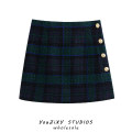 skirt Autumn of 2019 XS,S,M,L Decor Short skirt street High waist Pleated skirt lattice Type A Splicing Europe and America