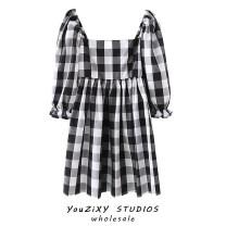 Dress Summer 2020 black S,M,L Middle-skirt singleton  three quarter sleeve street One word collar lattice Socket other puff sleeve Europe and America