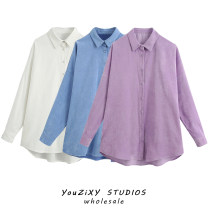 shirt White, blue, purple XS,S,M,L other 71% (inclusive) - 80% (inclusive) Long sleeves street Regular Single row multi button Solid color Splicing Europe and America