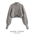 Wool knitwear Autumn 2020 S,M,L grey Long sleeves singleton  Socket other 71% (inclusive) - 80% (inclusive) have cash less than that is registered in the accounts street easy High collar puff sleeve Solid color Socket Europe and America