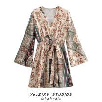 Dress Autumn 2020 Decor S,M,L Short skirt singleton  Long sleeves street V-neck Decor Socket Splicing Europe and America
