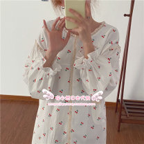 Nightdress Soft Honey Picture color Average size Sweet Long sleeves Leisure home longuette spring Plants and flowers Crew neck cotton printing More than 95%