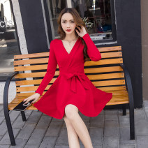 Dress Autumn 2020 Red, black S,M,L,XL Middle-skirt singleton  Long sleeves commute V-neck middle-waisted Solid color Socket A-line skirt routine Others Type A Other / other Korean version Frenulum 8803# 71% (inclusive) - 80% (inclusive) other other