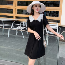Dress Summer 2020 black S,M,L,XL Short skirt singleton  Short sleeve commute Doll Collar High waist Solid color Single breasted A-line skirt routine Others 18-24 years old Type A Korean version Lace up, button 71% (inclusive) - 80% (inclusive) other other