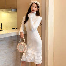 Dress Autumn 2020 White, black Average size Miniskirt singleton  Long sleeves commute High collar middle-waisted Solid color Socket Ruffle Skirt routine Others Type A Other / other Korean version Lotus leaf edge 51% (inclusive) - 70% (inclusive) knitting