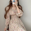 Dress Spring 2021 Apricot, pink Average size Mid length dress singleton  Long sleeves commute V-neck Elastic waist Decor Single breasted pagoda sleeve Others 18-24 years old Type H Other / other Korean version 51% (inclusive) - 70% (inclusive) Chiffon other