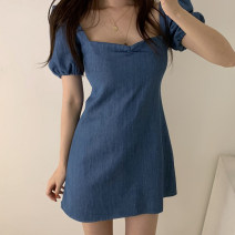 Dress Summer 2021 blue S,M,L Short skirt singleton  Short sleeve commute square neck High waist Solid color zipper A-line skirt puff sleeve Others 18-24 years old Type H Other / other Korean version Open back, fold 31% (inclusive) - 50% (inclusive) Denim