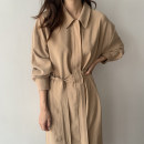 Dress Autumn 2020 Navy, Khaki Average size longuette singleton  Long sleeves tailored collar High waist Solid color Single breasted other other 18-24 years old Other / other