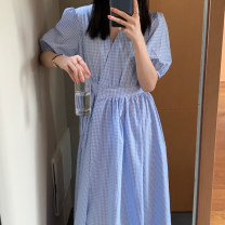 Dress Summer 2021 blue Average size longuette singleton  Short sleeve commute V-neck High waist lattice Socket Big swing puff sleeve Others 18-24 years old Type A Other / other Korean version 31% (inclusive) - 50% (inclusive) brocade cotton
