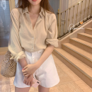 shirt Apricot S,M,L,XL,2XL Autumn 2020 other 96% and above Long sleeves commute Regular square neck Single row multi button shirt sleeve Solid color 18-24 years old Straight cylinder Korean version