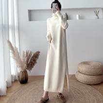 Dress Winter 2020 Off white, black, khaki, coffee Average size longuette singleton  Long sleeves commute High collar Loose waist Solid color Socket A-line skirt routine Others Type H Other / other Korean version Split XXZYK070 knitting
