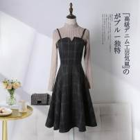 Dress Autumn of 2019 S,M,L,XL,3XL,XXL longuette Two piece set Long sleeves commute Crew neck High waist lattice zipper A-line skirt routine camisole 25-29 years old Type A Other Splicing More than 95% Wool polyester fiber