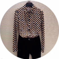 shirt As shown in the figure Spring 2021 nylon 96% and above Long sleeves Versatile Regular Polo collar Single row multi button routine Dot Self cultivation Novel goldette