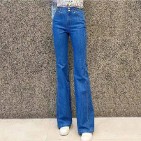 Jeans Spring 2021 blue 1 / XS, 2 / s, 3 / m, 4 / L, 5 / XL trousers High waist Straight pants routine Dark color O'amash banner 51% (inclusive) - 70% (inclusive)