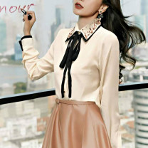 shirt Black, apricot 2 / s, 3 / m, 4 / L, 5 / XL Spring 2021 other 96% and above Long sleeves commute Regular Polo collar Single row multi button shirt sleeve Solid color Self cultivation Pinge Dixin Simplicity Pin bead, Sequin, ribbon bow tie