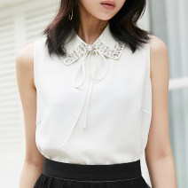 shirt white 2 = s, 3 = m, 4 = L, 5 = XL Summer 2021 other 96% and above Sleeveless Versatile Regular Polo collar Socket routine Solid color Straight cylinder Pinge Dixin Chiffon