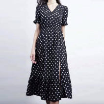 Dress Summer 2021 Dot 2 = s, 3 = m, 4 = L, 5 = XL Middle-skirt singleton  Short sleeve commute V-neck middle-waisted Dot Socket other routine Others Type H Pinge Dixin Ol style 30% and below other other