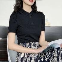 T-shirt Black, white 2 = s, 3 = m, 4 = L, 5 = XL, 6 = XXL Summer 2021 Short sleeve Polo collar Self cultivation Regular routine commute nylon 51% (inclusive) - 70% (inclusive) Ol style Pinge Dixin