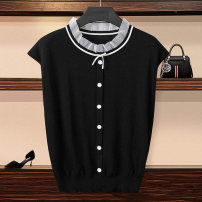 T-shirt Black, white 2 / s, 3 / m, 4 / L, 5 / XL Summer 2021 Short sleeve stand collar Self cultivation Regular routine commute other 51% (inclusive) - 70% (inclusive) Ol style other Pinge Dixin