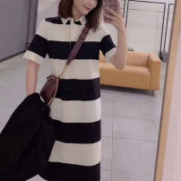 Dress Summer 2021 Brown, stripe 2 = s, 3 = m, 4 = L, 5 = XL Mid length dress singleton  Short sleeve commute Polo collar middle-waisted stripe Socket other routine Others Type H O'amash banner Ol style More than 95% other cotton