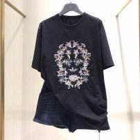 T-shirt black 2 = s, 3 = m, 4 = L, 5 = XL Spring 2021 Short sleeve Crew neck easy Medium length routine commute cotton 86% (inclusive) -95% (inclusive) Ol style Professional amashite