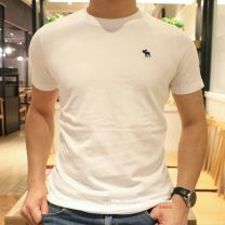 T-shirt Youth fashion routine S,M,L,XL,2XL Others Short sleeve Crew neck Self cultivation motion summer Cotton 100% youth routine Simplicity in Europe and America Cotton wool 2021 Solid color Embroidered logo cotton Animal design washing Fashion brand More than 95%
