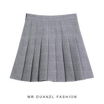skirt Autumn 2020 S,M,L Grey, Khaki Short skirt commute High waist Pleated skirt lattice Type A 18-24 years old Pleated, zipper Korean version