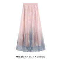 skirt Summer of 2019 Average size Mid length dress commute High waist A-line skirt Decor Type A 18-24 years old lady