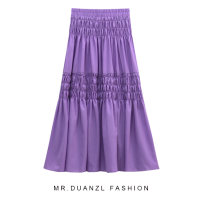 skirt Summer 2020 Purple, white, black Mid length dress grace High waist Splicing style Solid color Type A 18-24 years old More than 95% polyester fiber Splicing