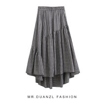 skirt Summer 2020 80-140 Jin Black and white check longuette Retro High waist A-line skirt lattice Type A 18-24 years old Splicing