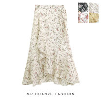 skirt Spring 2020 Average size Flower 1 - apricot, flower 1 - ginger, flower 2 - white, flower 2 - black, flower 2 - pink, flower 2 - blue, flower 1 - black Mid length dress fresh High waist Broken flowers Type A 18-24 years old Lace up, stitching, printing