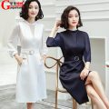 Dress Autumn of 2019 navy blue L,2XL Mid length dress singleton  three quarter sleeve commute Crew neck middle-waisted Solid color zipper Irregular skirt Wrap sleeves Others 18-24 years old Type X Guoguo Niuniu Ol style Hollow out, gauze ASCD-892D18 81% (inclusive) - 90% (inclusive) Chiffon